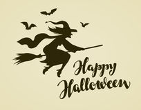 Happy Halloween greeting card. Witch flying on broomstick. Vintage vector illustration Royalty Free Stock Photo