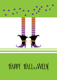 Happy Halloween greeting card, with witch green Stock Photos