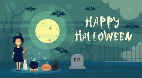 Happy Halloween Greeting Card Witch At Night On Cemetery Graveyard With Pumpkin Banner Stock Photos