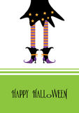 Happy Halloween greeting card, with witch Stock Photo