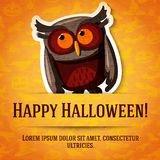 Happy Halloween Greeting Card With Brown Owl Royalty Free Stock Photography