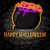 Happy Halloween Greeting Card With Cauldron And Stock Photo