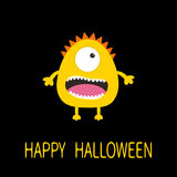 Happy Halloween greeting card. Yellow monster with one eye, teeth, tongue. Funny Cute cartoon character. Baby collection. Stock Photos