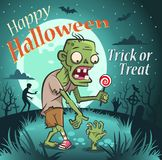 Happy halloween illustration. Zombie with a candy under the moon. royalty free illustration