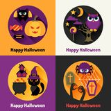 Happy halloween greeting cards in flat design Stock Images