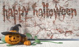 Happy Halloween greeting with Jack O Lantern pumpkin and green  Stock Photography