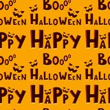 Halloween party celebration invitation seamless pattern vector illustration pumpkin background design Stock Images