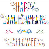 Happy Halloween greeting text. Funky Happy Halloween greeting text with pumpkin, ghost, spider, black cat, candy and autumn leaves, plus design elements vector illustration