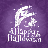 Happy Halloween greeting vector card Stock Image