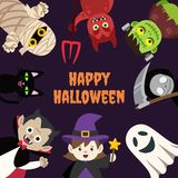 Kids Halloween Cartoon Monster With Space. Happy Halloween greetings with various characters on sides with text at the center stock illustration