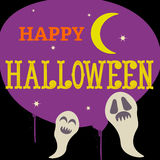Happy Halloween half moon night with ghosts Royalty Free Stock Images