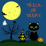 Happy Halloween. A Halloween cat with a medallion and green eyes sits on the background of the full moon. Nearby pumpkin stock illustration