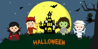 Happy Halloween. Halloween party children of characters in different costumes against the background of the full moon, at night. C. Artoon, flat, vector stock illustration