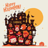 Happy Halloween! Halloween party in old castle and the characters in carnival costumes. Stock Image