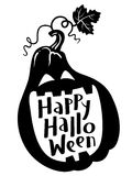 Happy Halloween hand-drawing lettering composition with pumpkin. Silhouette. Cute black and white design element for t-shirt, greeting card, poster in Stock Photo