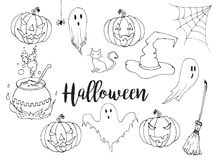Happy Halloween hand drawn illustration set in sketch style. Halloween doodle decorative elements for poster or flyer design. Isol. Ated Vector Pumpkin, witch Stock Image