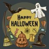 Happy Halloween hand drawn illustrations Royalty Free Stock Photography