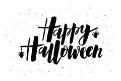 Happy Halloween hand drawn lettering typography design stock illustration