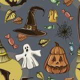 Happy Halloween hand drawn pattern Royalty Free Stock Photo
