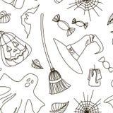 Happy Halloween hand drawn pattern Stock Image