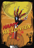 Happy Halloween hand robot killer vector background Stock Image