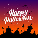 Happy Halloween hand written lettering card with bats and silhouettes of graves in the cemetery. Stock Photography