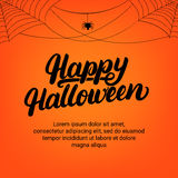 Happy Halloween hand written lettering card with spider and cobweb. Modern brush calligraphy. Halloween background. Halloween card. Vector illustration stock illustration
