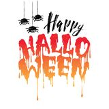 Happy Halloween handwritten lettering with Flowing blood with spider. vector illustration