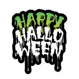 Happy Halloween handwritten lettering with Flowing green blood. stock illustration