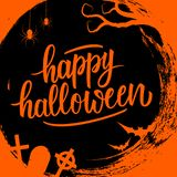 Happy Halloween handwritten lettering holiday greetings on circle brush stroke background with traditional holiday spooky symbols. Vector illustration stock illustration