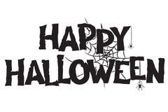 Happy Halloween handwritten text and spiderweb hand drawn royalty free stock photo