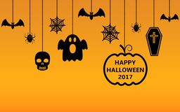 Happy Halloween 2017 hanging ornaments background. Vector illustration Stock Photo