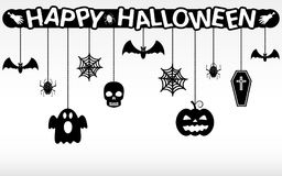 Happy Halloween hanging ornaments background. Happy Halloween hanging ornaments vector background Royalty Free Stock Image
