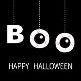 Happy Halloween. Hanging word BOO text Eyeballs bloody veins. Dash line thread. Greeting card. Flat design. Black background. Vector illustration stock illustration