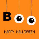Happy Halloween. Hanging word BOO text Eyeballs bloody veins. Dash line thread. Greeting card. Flat design. Orange background. Vector illustration stock illustration