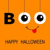 Happy Halloween. Hanging word BOO text Eyeballs bloody veins. Smiling mouth, tongue. Dash line thread. Greeting card. Flat design. Orange background. Vector vector illustration