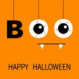 Happy Halloween. Hanging word BOO text Eyeballs bloody veins. Spooky fangs tooth. Dash line thread. Greeting card. Flat design. Or. Ange background. Vector vector illustration