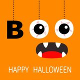 Happy Halloween. Hanging word BOO text Eyeballs bloody veins. Spooky screaming mouth, fangs. Dash line thread. Greeting card. Flat. Design. Orange background royalty free illustration