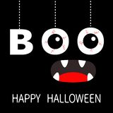 Happy Halloween. Hanging word BOO text Eyeballs bloody veins. Spooky screaming mouth, fangs. Dash line thread. Greeting card. Flat. Design. Black background stock illustration