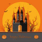 Happy Halloween. Happy autumn. The road to the castle among the Royalty Free Stock Images