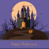 Happy Halloween. Happy autumn. The road to the castle among the Stock Images