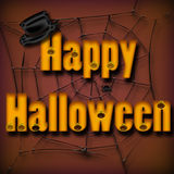 Happy Halloween. With a hat and w web Royalty Free Stock Images