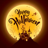 Happy Halloween with haunted castle on the dark hill Royalty Free Stock Photos