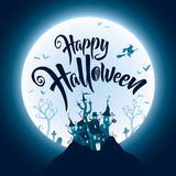 Happy Halloween with haunted castle on the dark hill Stock Photo