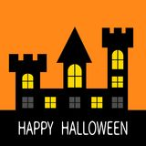 Happy Halloween. Haunted house Dark black castle tower silhouette. Switch on yellow light at the windows, triangle roof. Greeting Stock Image