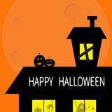 Happy Halloween. Haunted house roof attic loft. Two pumpkins Light on boarded-up windows. Cat arch back. Monster spider Candle. Bi Stock Photography