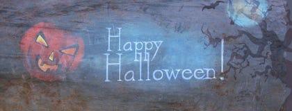 Happy Halloween Header Banner with Pumpkin. Happy Halloween Header Banner with Creepy Pumpkin royalty free illustration