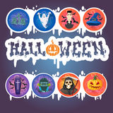 Happy Halloween Holiday Banner Monsters Collection. Flat Vector Illustration Stock Images