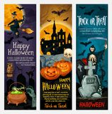 Happy Halloween banner with ghost and pumpkin Royalty Free Stock Images