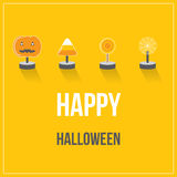 Happy Halloween Holiday with candy flat design Royalty Free Stock Photo